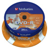 DVD-R Verbatim 4,7 GB, 16x, spindl, printable, balení 25 ks